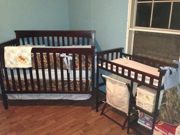 Matching crib and changing table