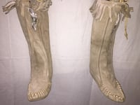 "Grey 14-1/2"" High Moccasin boots with soft soles. Pleasant Prairie, 53158"