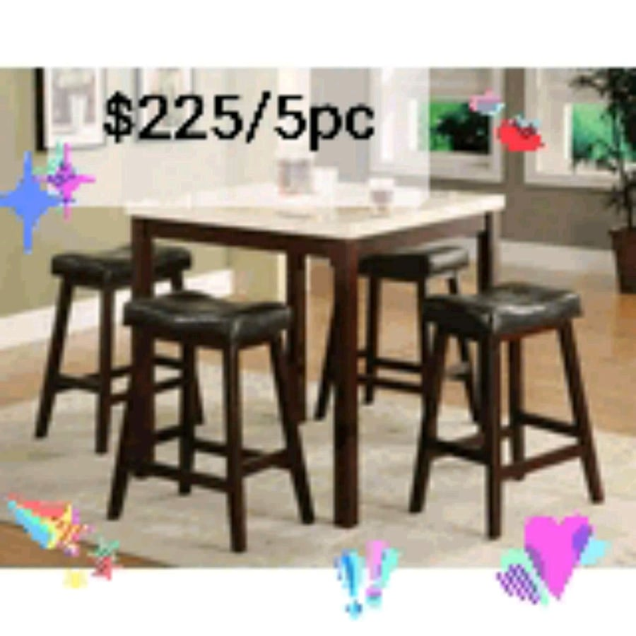 Faux Marble top pub table set with 4 stool ( New )