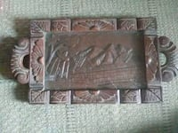 Wood and Glass Carved Tray  Corpus Christi, 78412
