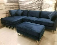blue suede sectional couch and ottoman Las Vegas, 89109