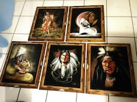 """Velvet Painting Collection Lot of 5 Miscellaneous Kitsch Home Decor 22.5"""" X18.5"""" Orlando"""