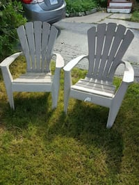 two brown wooden adirondack chairs Hamilton, L9A 2H3