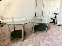 round glass top table with black metal base Germantown, 20874