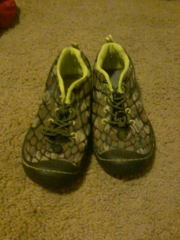brown-and-green snakeskin lace-up shoes