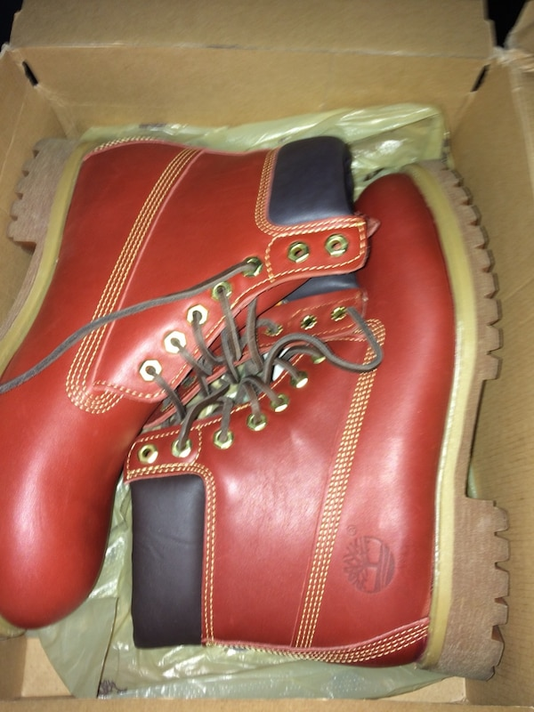Used pair of ruby red full-grain Timberland premium work boots with box for  sale in New York - letgo b88ee2837446