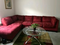 red suede sectional sofa with throw pillows Indianapolis, 46224