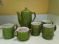 floral embossed green ceramic tea set