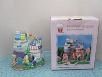 Brand New Hand Painted Porcelain Easter Rabbit House Lamp House