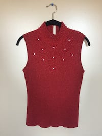 Red Sleeveless Top with Beaded Floral Design