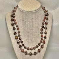 Genuine Agate Beaded Necklace with Sterling Silver Clasp Ashburn
