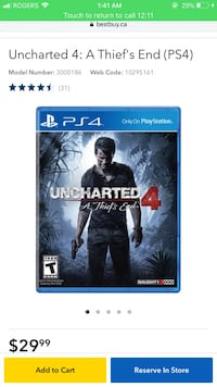 Uncharted 4 - A Thief's End Brand New Sealed Ajax, L1Z 0B9