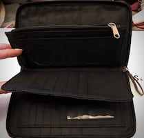 Black Leather Wallet/ Passport Holder  Lots of space
