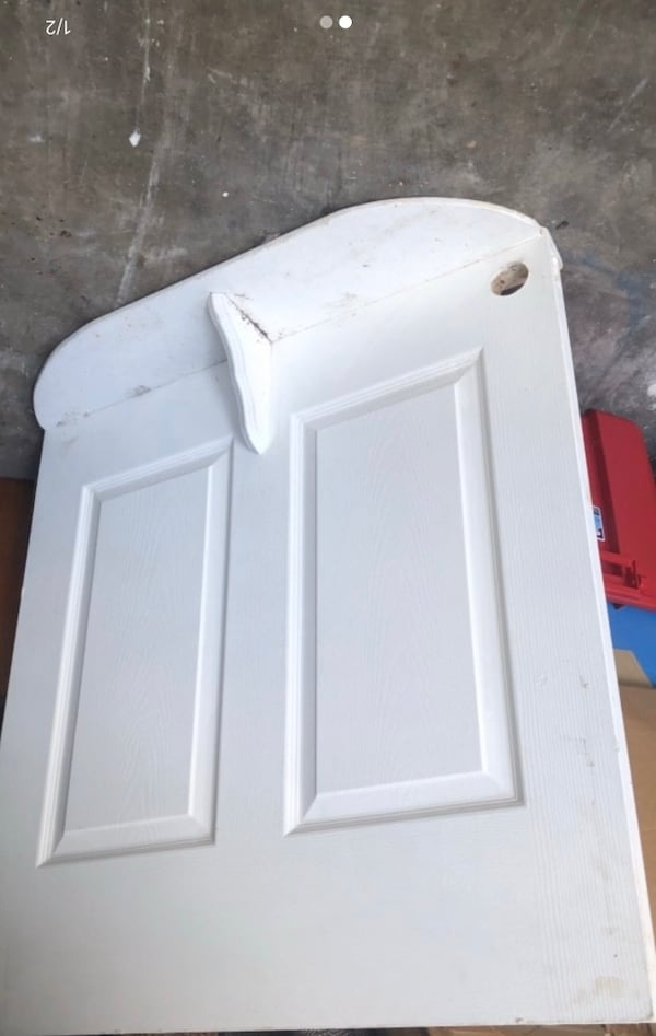 """Bottom of old door with shelf. Project piece? 36"""" across 5614449f-7e31-438d-a215-badc7f5f2f6c"""