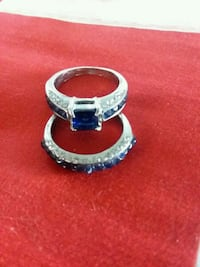 Costume Jewelry Wedding Set Size 8 Rings Blue Sapphire.  Brand New