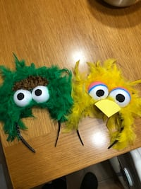 Halloween/party costume dress up Oscar and big bird handbands homemade. Halloween is around the corner be prepared :)