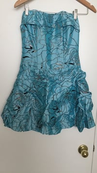 blue and black floral strapless mini dress Calgary, T2J 0E5