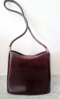 Brown Structured Leather Shoulder Bag Surrey