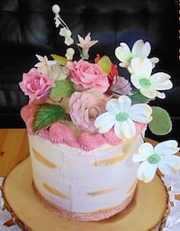 pink rose flowers and white dogwood flowers icing covered cake MONTREAL