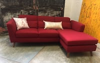red fabric sectional sofa with throw pillows North Vancouver, V7L