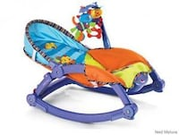 baby's blue, green and orange bouncer