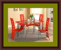 Glass red dining table with leather chairs 53 km