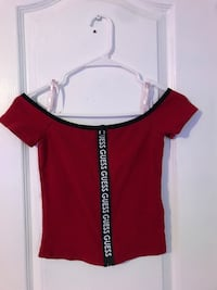 Red GUESS off-the-shoulder shirt