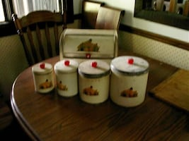 ANTIQUE CANNISTER SET WITH BREAD BOX