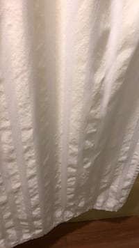 Cream colored shower curtain, canvas heavy duty. Freshly washed. College Station, 77845