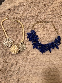women's two gold and blue floral necklaces