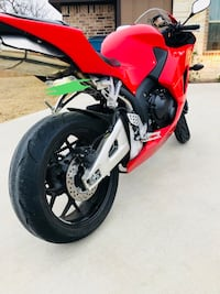 Red and white sports bike