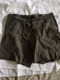 black and gray cargo shorts