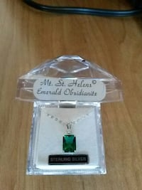 emerald pendant sterling silver necklace Bell, 90201