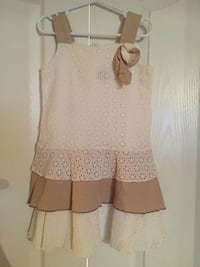 White and beige linen dress size 8 Toronto
