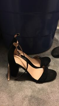 pair of black open-toe ankle strap wedge sandals Little Rock, 72204
