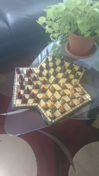 3 player wooden hand crafted chess set Manassas