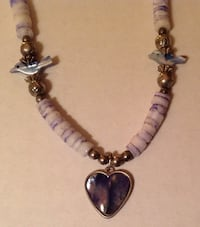 Purple Stone Wire Necklace with Heart and Birds