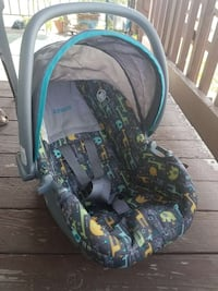 baby's gray, green, and teal animal themed Cosco c