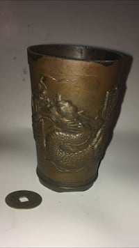 Collectible very old metal Chinese dragon metal cup w 3 characters Jersey City, 07307