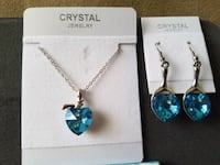 Brand new blue crystal heart necklace and earring  Chico, 95926