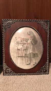 Beautiful Vintage Picture of little girl with dolly in high chair under oval beveled glass Gainesville, 20155