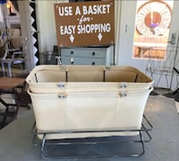 Retro Store Use A Basket For Easy Shoping Display Rack And (2) Canvas And Metal Shopping Baskets Temescal, 92883
