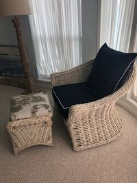 two black-and-white wicker armchairs Montréal, H2E 2L1
