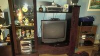 black CRT TV with brown wooden TV hutch Gatineau, J8X