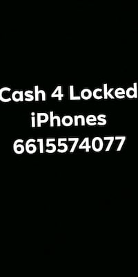 cash 4 locked iPhones text on black background Bakersfield, 93313