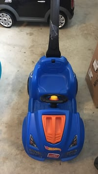Blue and orange how wheels push ride-on car toy