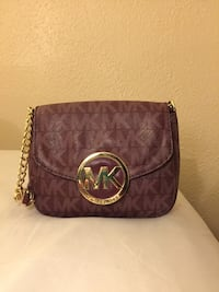 Michael Kors Fulton Leather Small Crossbody Purse Bag Merlot Signature San Antonio, 78209