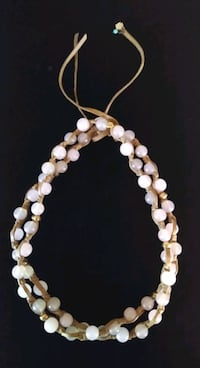LUCKY BRAND Rose Quartz and Leather Necklace