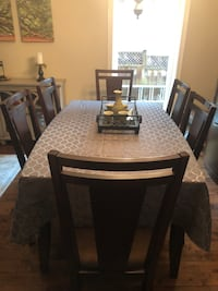 Dining table and 8 chairs Custom glass and insert