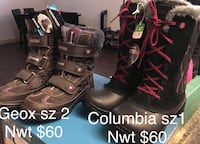 $60 each pr both NEW Geox sz 2 youth/ Columbia sz 1 youth winter boots NEW  Edmonton, T5W 0P7
